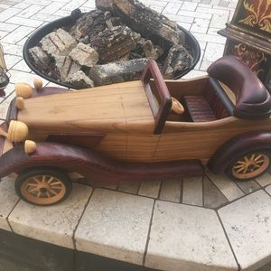 Large Wood Antique Style Display Accent Car
